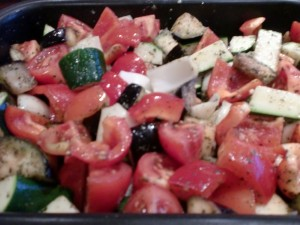 Preparing to roast the vegatables for the freekeh salad